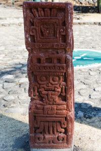 Xochicalco rzeźba boga Tlaloca, świadectwo związków z Teotihuacan