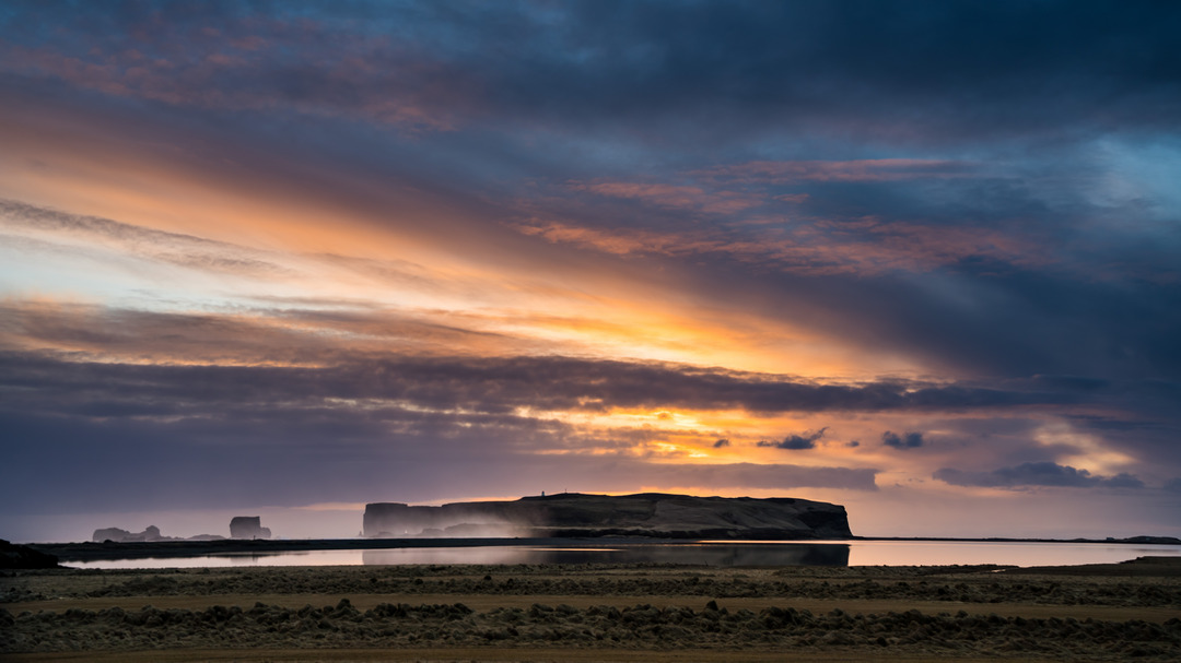Zachód słońca nad Dyrhólaey